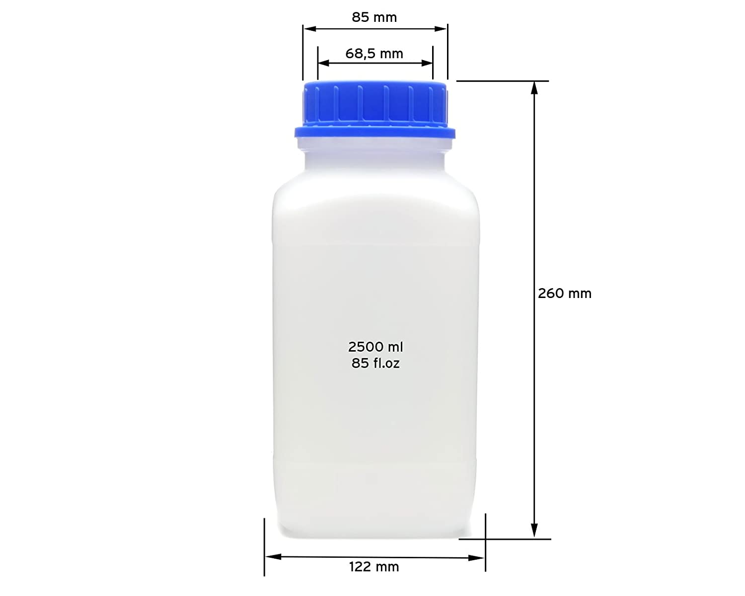 chemical bottle laboratory bottle Octopus 1x 2500 ml wide mouth bottles with screw top