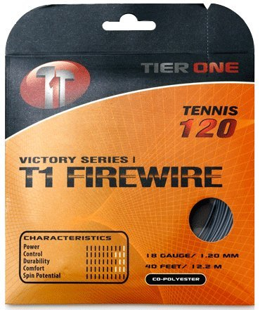 Tier One T1-Firewire Co-polyester Tennis String (Black, 18 gauge (1.20 mm) - 12.2 m set)