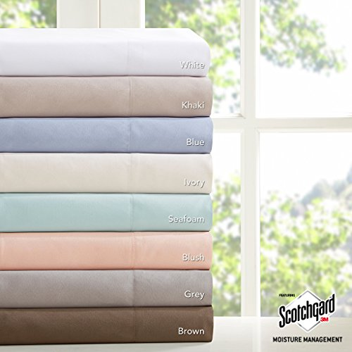 Madison Flat Sheet (Madison Park - Microcell Sheet Set 3M Scotchgard Moisture Wicking & Stain Resistant - Seafoam Color - Queen - Extra Soft - Easy Fit - Includes 1 Fitted Sheet, 1 Flat Sheet, 2 Pillowcases)