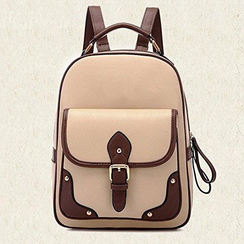 Mochila Women PU Backpack Kaki Hrph Women's Bag Leather Patchwork School Travel 5wEEPqI