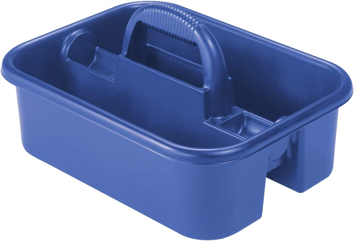 Akro-Mils 09185 Plastic Tote Tool & Supply Cleaning Caddy with Handle, (18-3/8-Inch x 13-7/8-Inch x 9-Inch), Blue (09185BLUE) - Cleaning Product Tote -