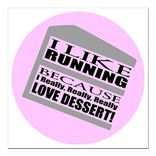 CafePress - Running I Love Dessert Square Car Magnet 3