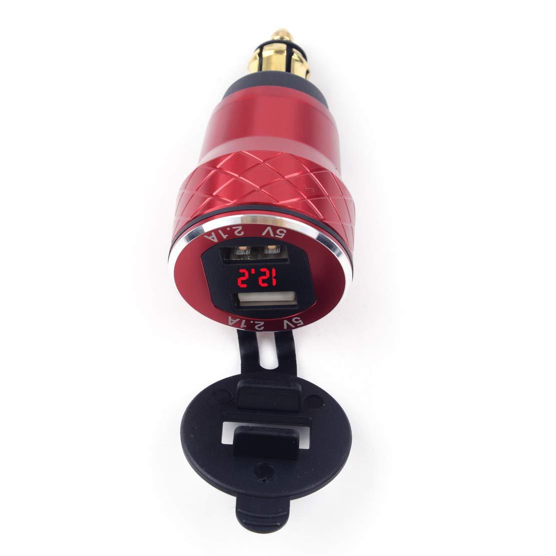 Aluminium 4.2A Dual USB Plug Chargeur Voltmètre EU Adapté pour Moto Hella/DIN Socket BMW Matériau Core Core: Rouge Cuivre Avec Affichage Rouge eastar