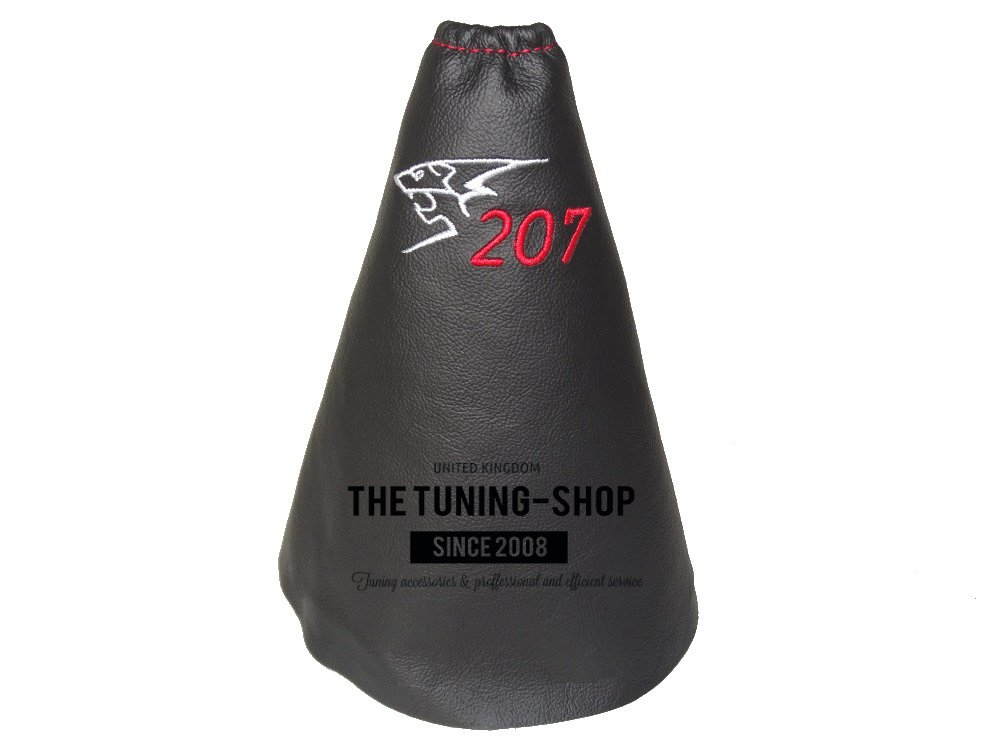Gear Stick Gaiter Black Genuine Leather 207 Red Embroidery