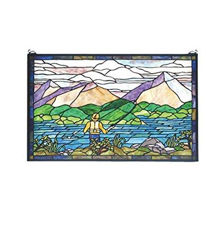 Fly Fishing Stained Glass Window - Meyda Tiffany 73649 Fly Fishing Stained Glass Window, 30