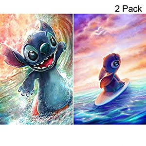 2 Pack 5D Full Drill Diamond Painting Kit, KISSBUTY DIY Diamond Rhinestone Painting Kits for Adults and Beginner Diamond Arts Craft Decor, 15.8 X 11.8 Inch (Cartoon Surf Stitch Diamond Painting)