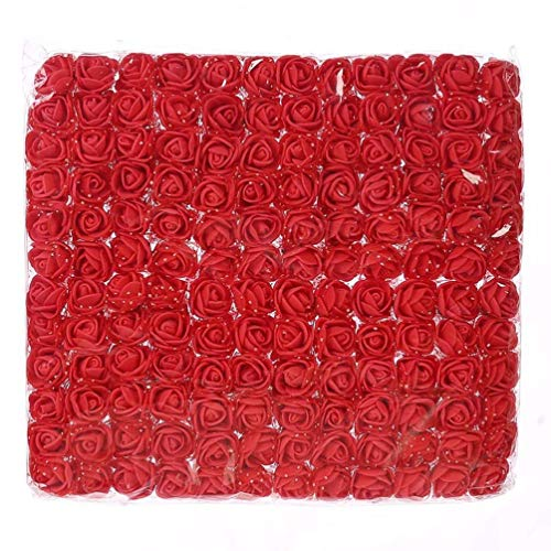Mini Foam Rose 144pcs 2cm Artificial Flowers Bouquet in Bulk Wholesale for Crafts Multicolor Roses Party Birthday Home Decor Wedding Flower Decoration Scrapbooking Fake Rose Flower (red)