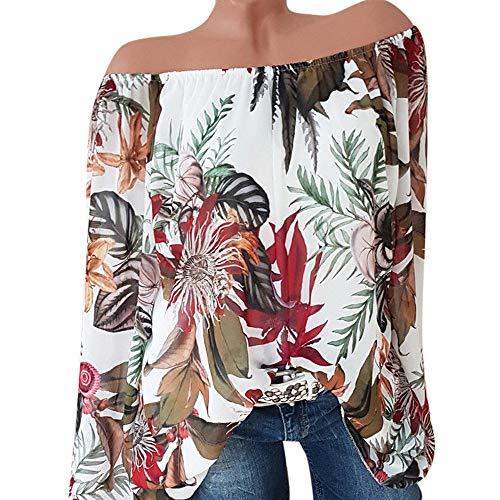 Floraux Off La White Manches Femmes Pull Lolittas Chemisier Les Et Taille Longues des Motifs Tops Shoulder Chemise wqCw0fUxH