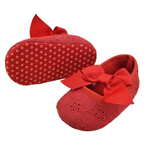 UPC 640950573911, DZT1968® Baby Girl Soft Sole Bowknot Shoes Prewalker Sneakers (12~18 Months, Red)