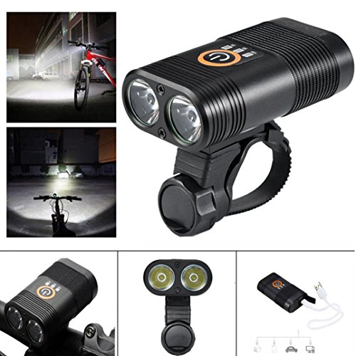 Price comparison product image Boofab Rechargeable Bike Light Set POWERFUL Lumens Bicycle Headlight FREE TAIL LIGHT,  LED Front and Back Rear Lights Easy To Install for Kids Men Women Road Cycling Safety Flashlight