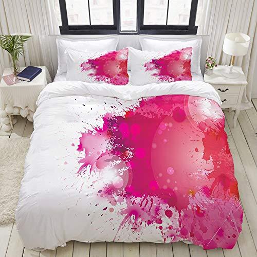 (VAMIX Artistic Display with Pink Watercolor Splashes Paint Splatters Fluid Brush College Dorm Room Decor Decorative Custom Design 3 PC Duvet Cover Set Full)