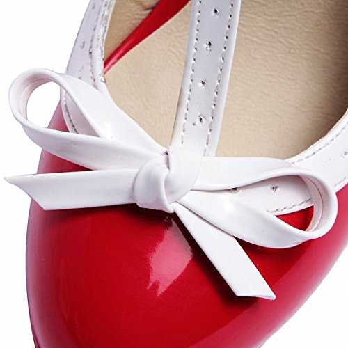 Heels Janes Cute Agodor Bowtie Mary Pumps Strap Buckle Women's Shoes with High Red Platform Block T wg8fPqX