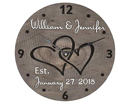 11 Inch Wooden Wall Clock Personalized for Couple. Custom Made Wood Anniversary Gift for Wife and Husband. Unique Gift Idea for Bridal Shower, Engagement, Wedding, or Housewarming.