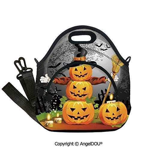 AngelDOU Halloween waterproof neoprene lunch bags Cute Pumpkins Funny Composition Traditional Celebration Witches Hat Broomstick Outdoor Travel Picnic Beach Party.12.6x12.6x6.3(inch)]()