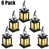 Solar Lantern - LVJING Hanging LED Solar Powered Lantern Solar Lights Outdoor Decorative for Patio Landscape Yard with Warm White Flameless Candles Flickering (6 Pack)