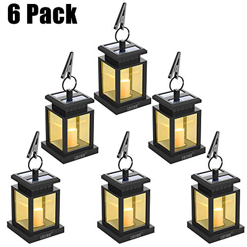 LVJING Solar Lantern Hanging Solar Lights Outdoor Decorative LED Solar Powered Lantern for Patio Landscape Yard with Warm White Flameless Candles Flickering (6 Pack)