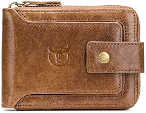 CONTACTS Men Genuine Leather RFID Blocking Wallet (Beige)