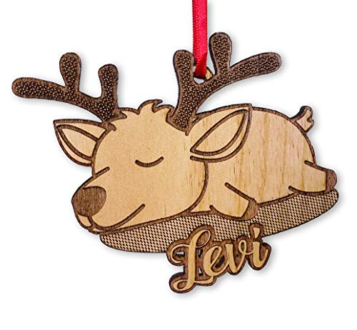 Cute Sleeping Deer Custom Ornament for Kids Babys First Customized Wooden Reindeer Girls or Boys Birthday Party Present Idea Country Western House Decor Housewarming ()