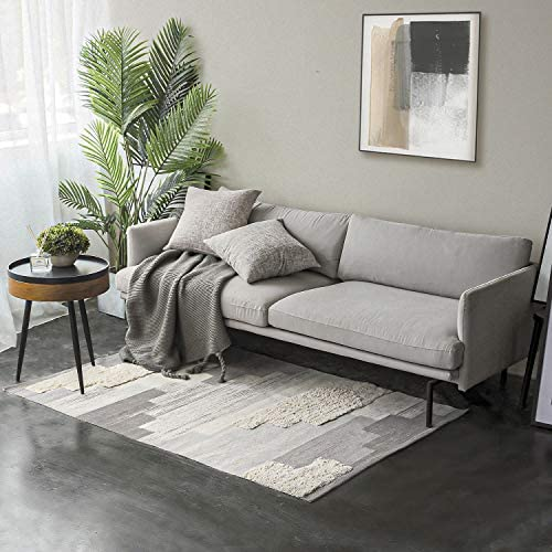 Ashler Soft Tufted Fringe Print Tassels Chic Modern Collection Rugs Carpet Chair Couch Cover Area Rug for Bedroom Floor Sofa Living Room, Grey 4 x 5.7 Feet