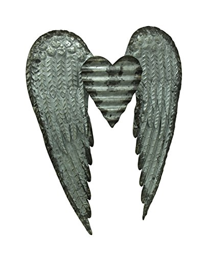 Zeckos Metal Wall Sculptures Galvanized Metal Winged Heart Wall Sculpture 22.5 X 27.5 X 2.5 Inches Silver by Zeckos (Image #3)