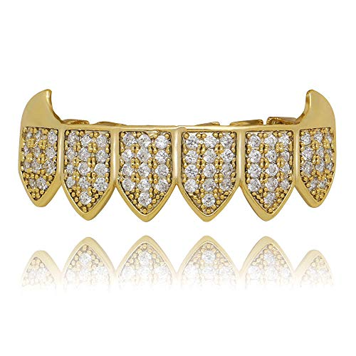 Fang Grillz Set (LuReen 14k Gold Silver Plated Iced Out Vampire Fangs Grillz Top and Bottom Grillz Set + 2 Extra Molding Bars (Gold Bottom Grillz))