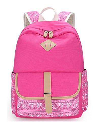 Keshi Canvas Cute Backpack Bag, Fashion Cute Lightweight Backpacks for Teen Young Girls Rose Pink