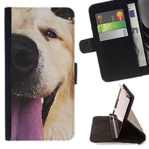 For Samsung Galaxy S5 Mini (Not S5), SM-G800 Case , Hocico perro del labrador retriever de oro- la tarjeta de Crédito Slots PU Funda de cuero Monedero caso cubierta de piel