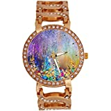 jkfgweeryhrt Women's Wrist Watch Analog Quartz with Chain Bracelet Band Rose Gold Tone Stainless Steel Lady Dress Watch (Abstract floral watercolor painting)