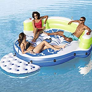 Bestway CoolerZ Kick Back Lounge 3 Person Inflatable Floating Island Raft 43120
