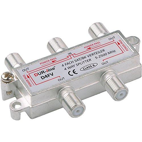 SAT & BK-Verteiler - 4-fach Splitter - voll geschirmt - unicable & HD tauglich [DUR-line D4FV - Verteiler für Satelliten-Anlagen(DVB-S2) - BK - UKW Radio - DC-Durchlass - TV Antennen Fernseh Verteiler]