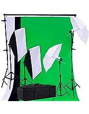 PRO SYSTEM AUDIOTEK Kit Set Fotográfico Estudio Profesional Fotografía Estudio Fotografico Video Pantallas Cicloramas Sombrillas Softbox Lamparas Iluminación Excelente Calidad