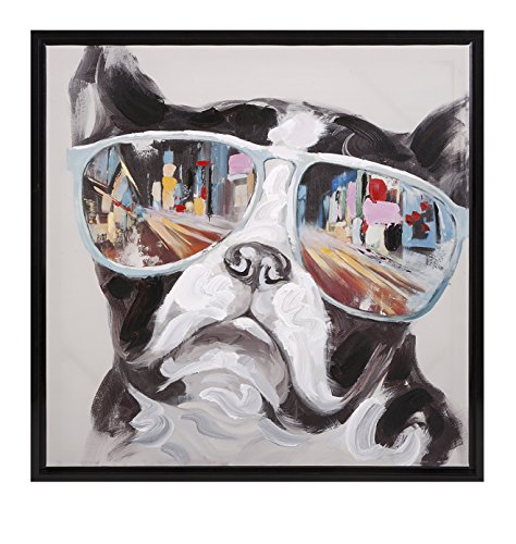 Boston Terrier Dog Art - IMAX 82202 City Shades Dog Framed Canvas - One Shade, Landscape Canvas Art for Home Decor, Offices, Restaurants. Indoor Wall Art