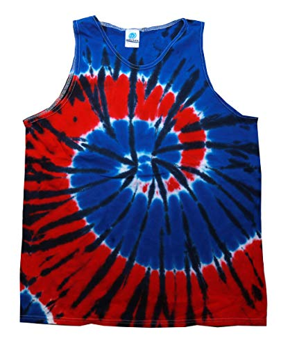 Tie Dye Tank Tops Sleeveless Athletic Muscle Shirts 100% Cotton Multicolor (Independance, Large)