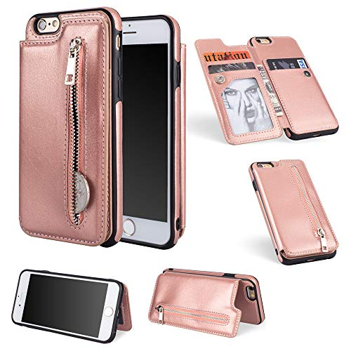 iPhone 6 iPhone 6s 4.7 inch Case Cover,Scheam Replacement Appears Anti-Scratch Wallet Case [Card Pocket] Protective Shell Armor Hybrid Shockproof Rubber Bumper Cover with Card Slot Holder - Rose Gold
