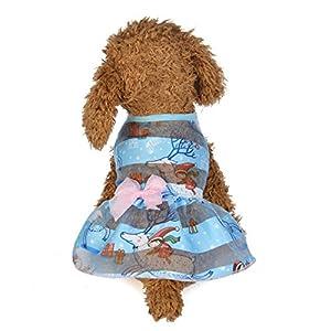 Wakeu Small Dog Girl Dress Pet Puppy Transparent Colorful Vest Shirt Clothes (S, 05)