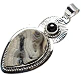 "Desert Druzy, Black Onyx 925 Sterling Silver Pendant 2 1/4"" - Handmade Jewelry PD608588"