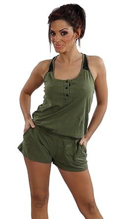 e072b1f0450d Amazon.com  Gypsy 05 Gazelle Lace Racerback Romper in Olive Green ...