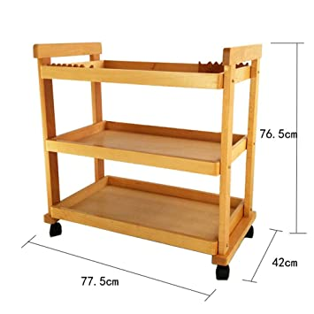 Amazon Com Ecojoin Cart 3 Tray Wooden Storage Trolley Art