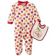 Gerber Baby-Girls Newborn 2 Piece Zipper Sleep N Play and Bib Set, Apples, 3-6 Months