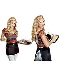 Premium Quality Restaurant Bistro Waiter Waitress Black Waist Apron Short Cocktail Length with Multiple Pockets