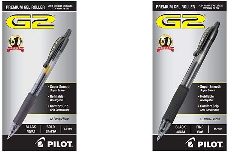 Black Ink PILOT G2 Premium Refillable /& Retractable Rolling Ball Gel Pens 31256 Pack of 1 Bold Point 12 Count
