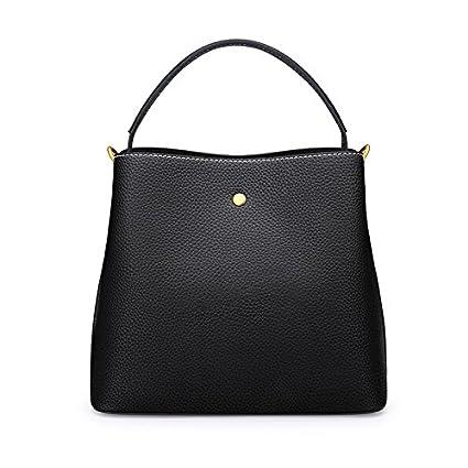 black Shoulder bag bucket bag wild wide shoulder strap Messenger bag black