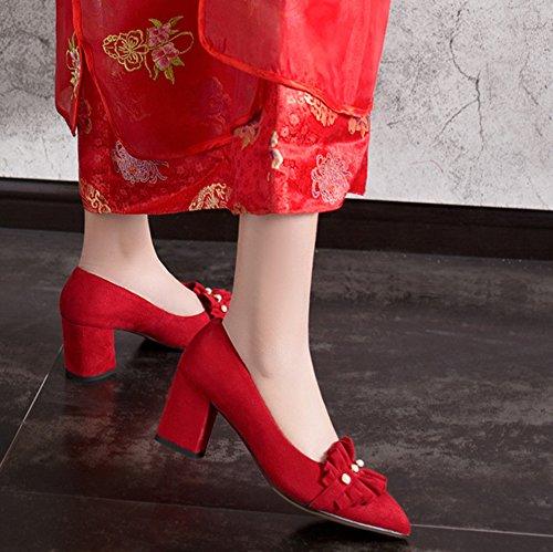Belle Femme Perles Rouge Chunky Chaussures Escarpins Mariage De Aisun Talon CZqU5W