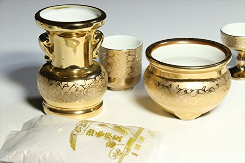 Yamako Buddhist Altar Fittings Ceramic Six Piece Set Gold Color by Yamako (Image #2)