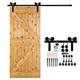 CCJH Country Classic Steel Interior Single Sliding Barn Door Hardware Kit 7 Ft Black