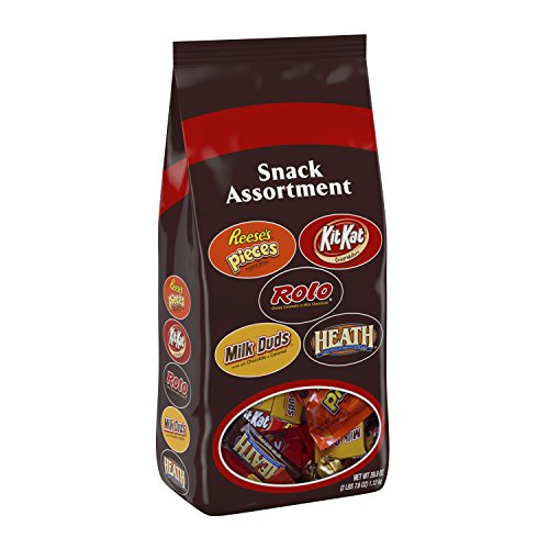 HERSHEY'S Chocolate Candy Snack Size Assortment (Reese's Pieces, Kit Kat, Rolo, Milk Duds, Heath) 39.8 Ounce Bag -