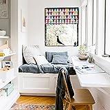 Quick Fix Washable Roman Window Shades Flat Fold , Geometric Color Pattern (36W x 63H, Multi Colored Triangles)