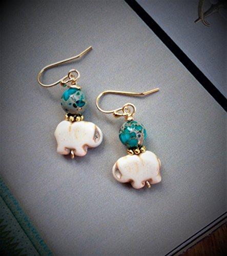 - Bohemian Festival Lucky Elephant Gemstone Earrings Yoga Jewelry