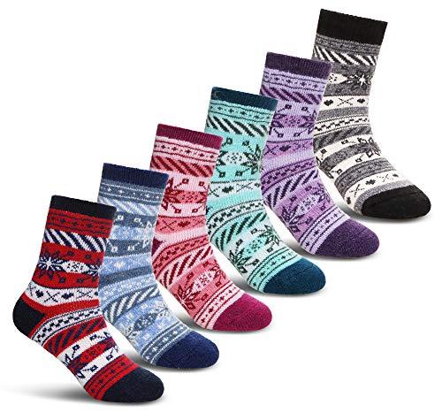 (Children's Soft Thick Wool Socks Kid Boy Girls Toddler Thermal Warm Winter Christmas Gift Socks 6 Pairs(Snowflake,8-12 Years))