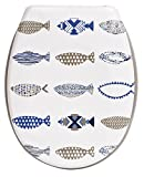 Evideco 4404448 17'' x 14.6'' Printed Duroplast Oval Toilet Seat Nautical Designed, Blue